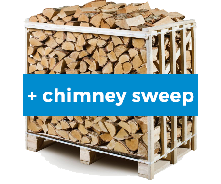 kiln dried firewood 1m3 crate with chimney sweep
