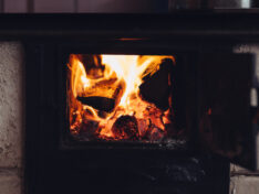 wood burning in a stove
